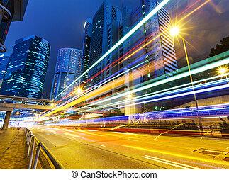 都市, 夜, 交通, 道