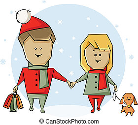 Christmas shopping - A man and a woman with a dog and...