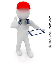 3d white man in a red peaked cap with thumb up, tablet pc and headphones on a white background