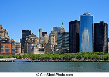 Lower Manhattan buildings and Hudson river, from the Liberty...