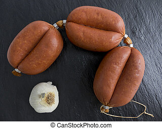 Sucuk garlic sausage - Sucuk Turkish garlic sausage on a...