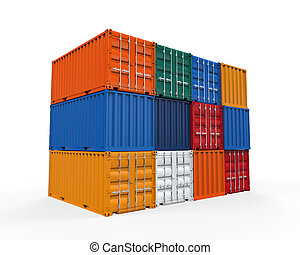 Stacked Shipping Container isolated on white background 3D...
