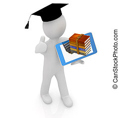 3d white man in a grad hat with thumb up,books and tablet pc...