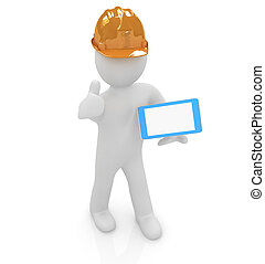 3d white man in a hard hat