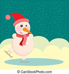 snowman in a hat and ice skating