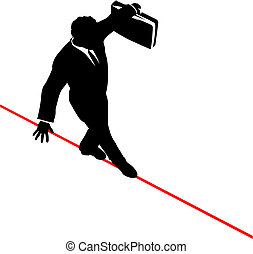 business man balances briefcase walks risky high tightrope -...