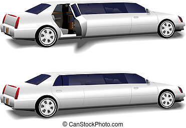 White Limousine Set of 2 with Limo Doors Open and Closed - A...