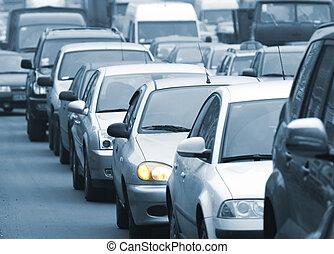 traffic jam - Morning traffic jam on a road in Kiev