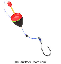 fishing tackle isolated on white background. 3d rendered...