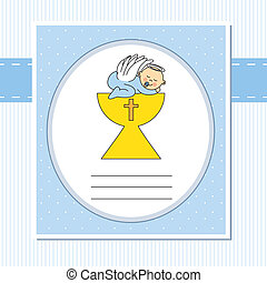 Baby boy in the holy grail. First communion card
