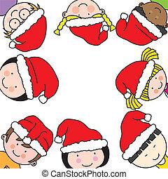Children card with Santa Claus hat