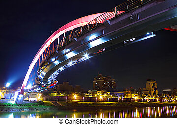 Arcuate bridge in Taiwan at night
