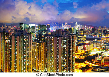 Housing in Hong Kong at night