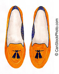 Stylized shoes, watercolor illustration