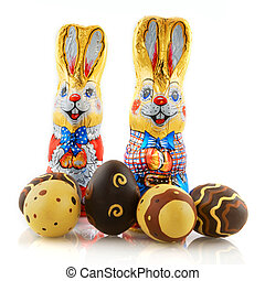 easter hares with chocolate eggs