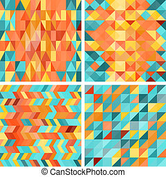 Seamless colorful geometric patterns in retro style.