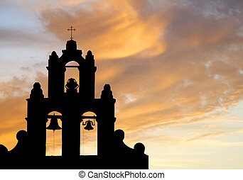 Old Mission Bell Tower at Sunset silhouette - Authentic...
