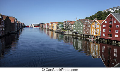 Beautiful colorful houses on river side of Nidelva,...