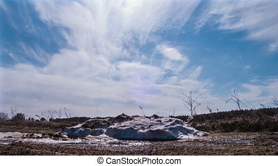 Pile of snow melts in the sun. Time Lapse