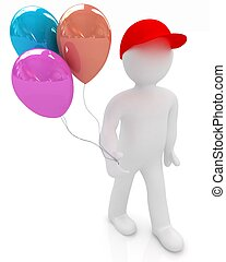 3d man keeps colorful balloons