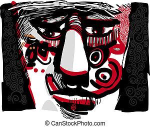 tribal, rosto, artisticos, desenho, Ilustração