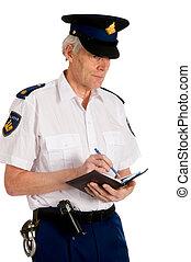 polícia, homem, escrita, penalidade