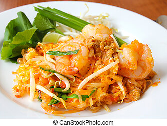 Thai food, stir-fried rice noodles Pad Thai