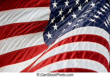 norteamericano, bandera, ondulación, 3