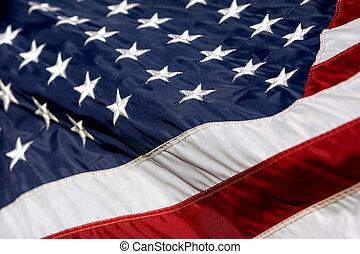 norteamericano, bandera, ondulación, 2