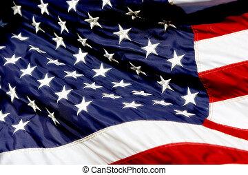 norteamericano, bandera, ondulación