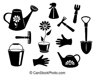 Silhouettes of garden tools Vector illustration Isolated on...