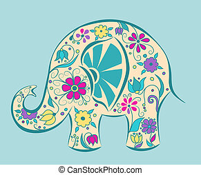 Blue elephant painted by flowers. Cartoon vector...