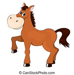 Brown horse Isolated on white Vector cartoon illustration