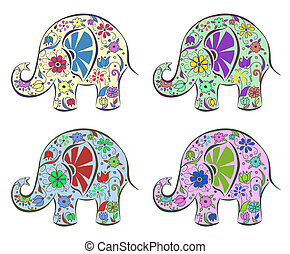 Set of elephants painted by flowers Isolated on white...