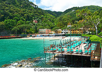 Ligurian beach at north of Italy