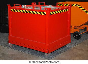 Industrial dumpster - Red steel dumpster bin for industrial...
