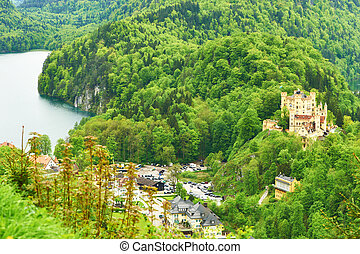 Landscape with castle of Hohenschwangau in Germany -...