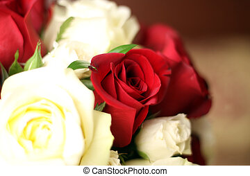Wedding Flowers - Cream and red roses in a bridal bouquet