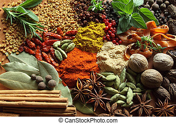 Herbs and spices composition Cooking ingredients on a...