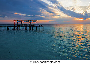 Lankayan Island - Lankayan island resort at sunset in...