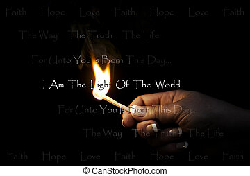Light of the World - A womans hand holds a blazing match...