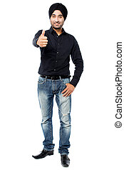 Great work, Keep it up! - Young Indian guy showing thumbs up