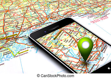mobile phone with gps and map in background - mobile phone...