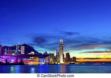城市, 現代, 傍晚, 摩天樓, 背景