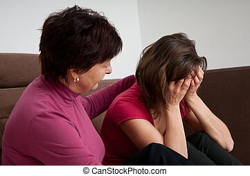 Problems - senior mother comforts daughter - Mother senior...