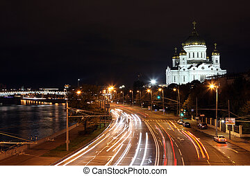 Beautiful Night View Cathedral of Jesus Christ the Saviour and Moskva river with Kremlin riverside in the summer