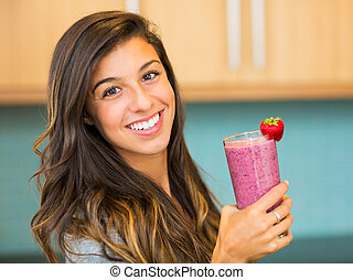 Woman with Smoothie - Woman Drinking Fresh Fruit Smoothie