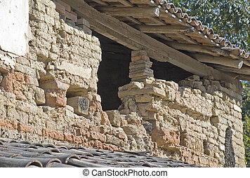 Old adobe brick wall in Mexico
