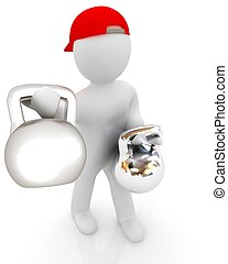 3d man with kettlebell. Bodybuilding. Lifting kettlebell on...