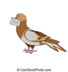 A pigeon with a letter on a white background. Vector-art...